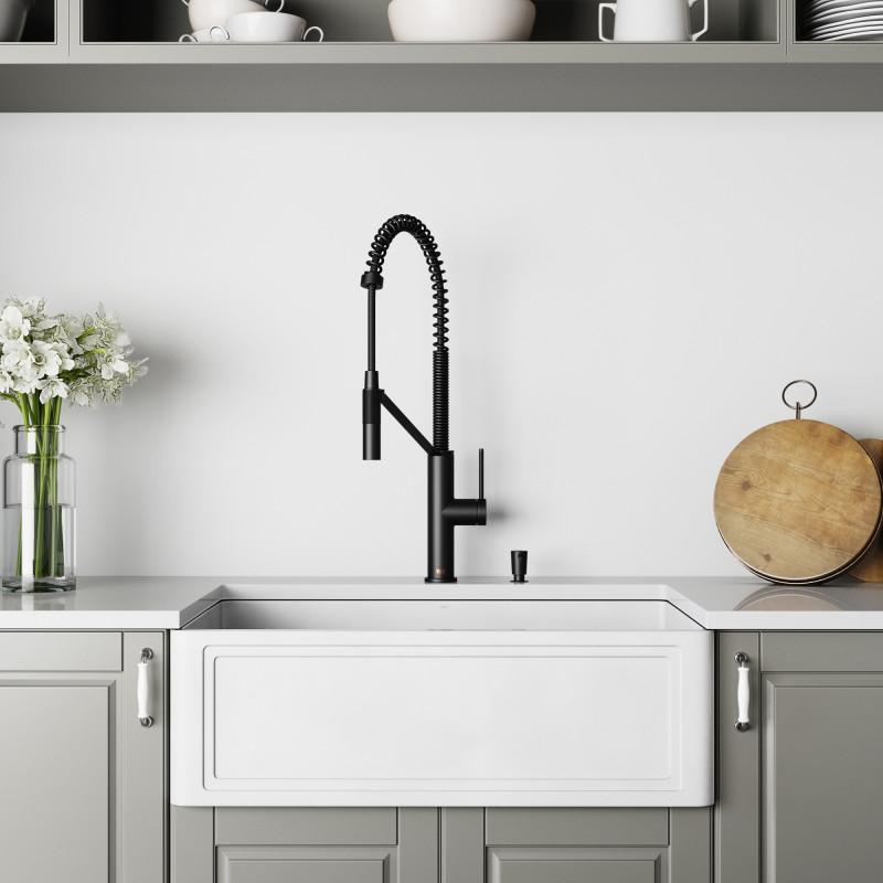 Vigo All In One 30 Crown Apron Front Matte Stone Farmhouse Kitchen Sink Set With Livingston Magnetic Cfiber C Faucet In Matte Black Strainer Soap Dispenser