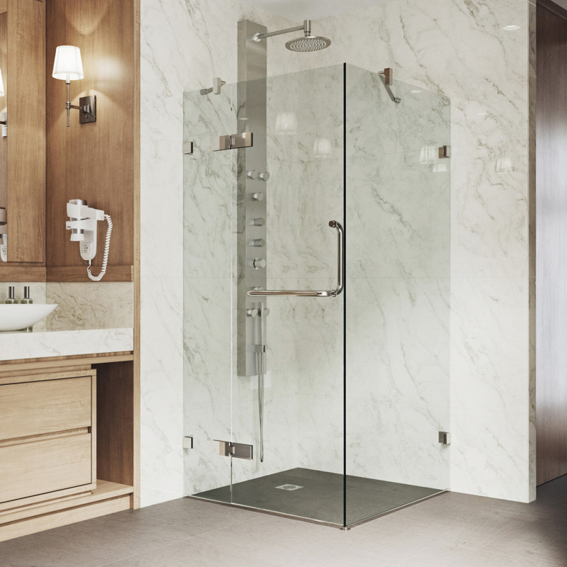 Vigo Monteray Frameless Shower Enclosure, Shower Stall Glass Doors Clean
