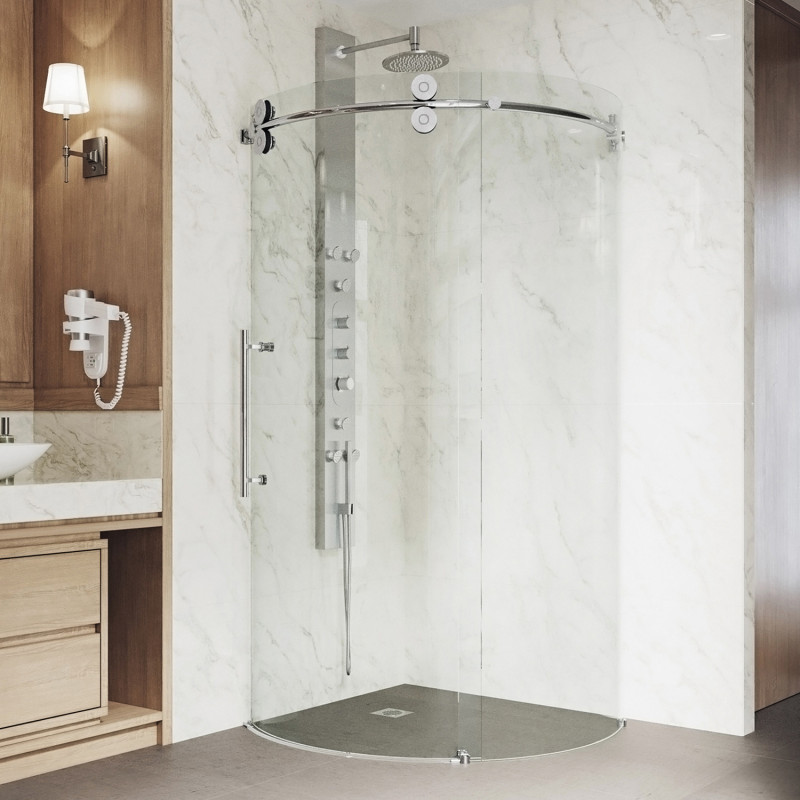 Vigo Sanibel Frameless Round Sliding Door Shower Enclosure With Left Sided Opening