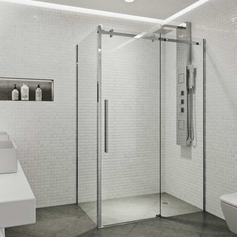 Vigo Alameda 32x48 Frameless Sliding, Shower Stall With Sliding Glass Doors