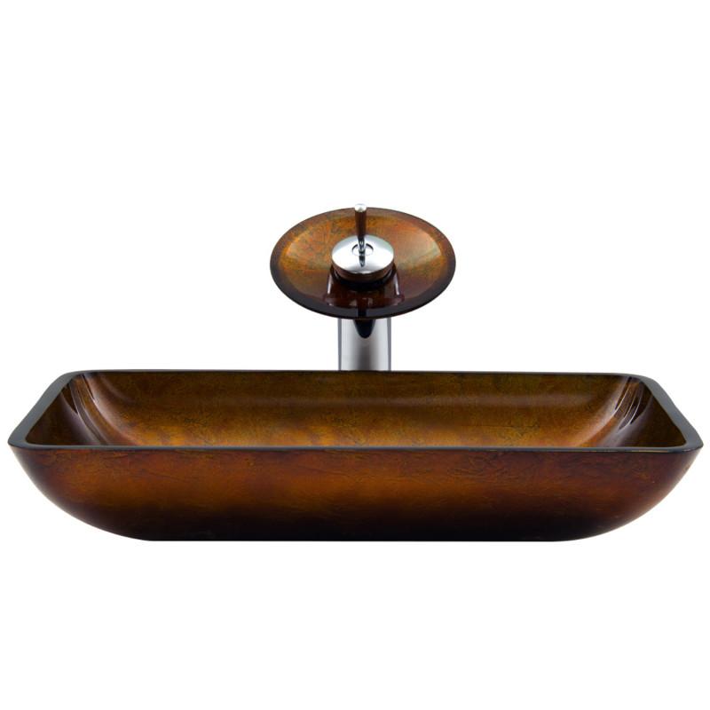 Vigo 22 rectangular russet glass vessel bathroom sink and for Kitchen set vessels