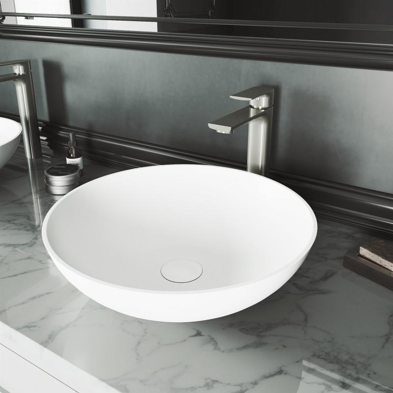 Vigo Lotus Matte Stone Vessel Bathroom Sink With Norfolk Bathroom Faucet In Brushed Nickel And Pop Up Drain Set