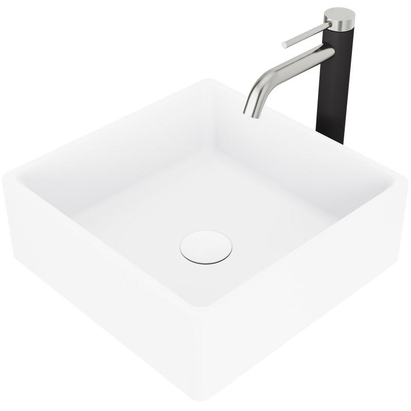 Drain Included Vigo Dianthus White Matte StoneTM Square Vessel Bathroom Sink With Lexington Single-Hole 1-Lever cFiber Vessel Bathroom Faucet Set In Matte Black Finish