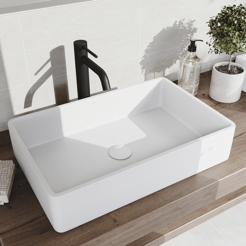 Vigo Magnolia Matte Stone Vessel Bathroom Sink And Lexington Cfiber C Faucet In Black With White Pop Up Drain