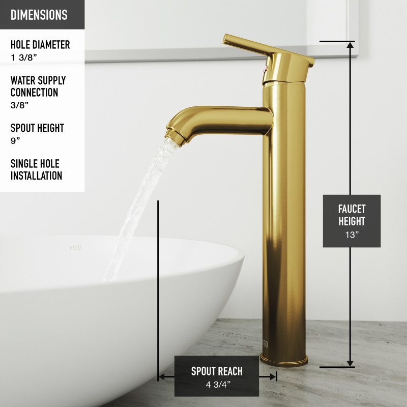 Vigo Black Roma Matteshell Bathroom Vessel Sink And Seville Vessel Faucet In Matte Brushed Gold With Pop Up Drain