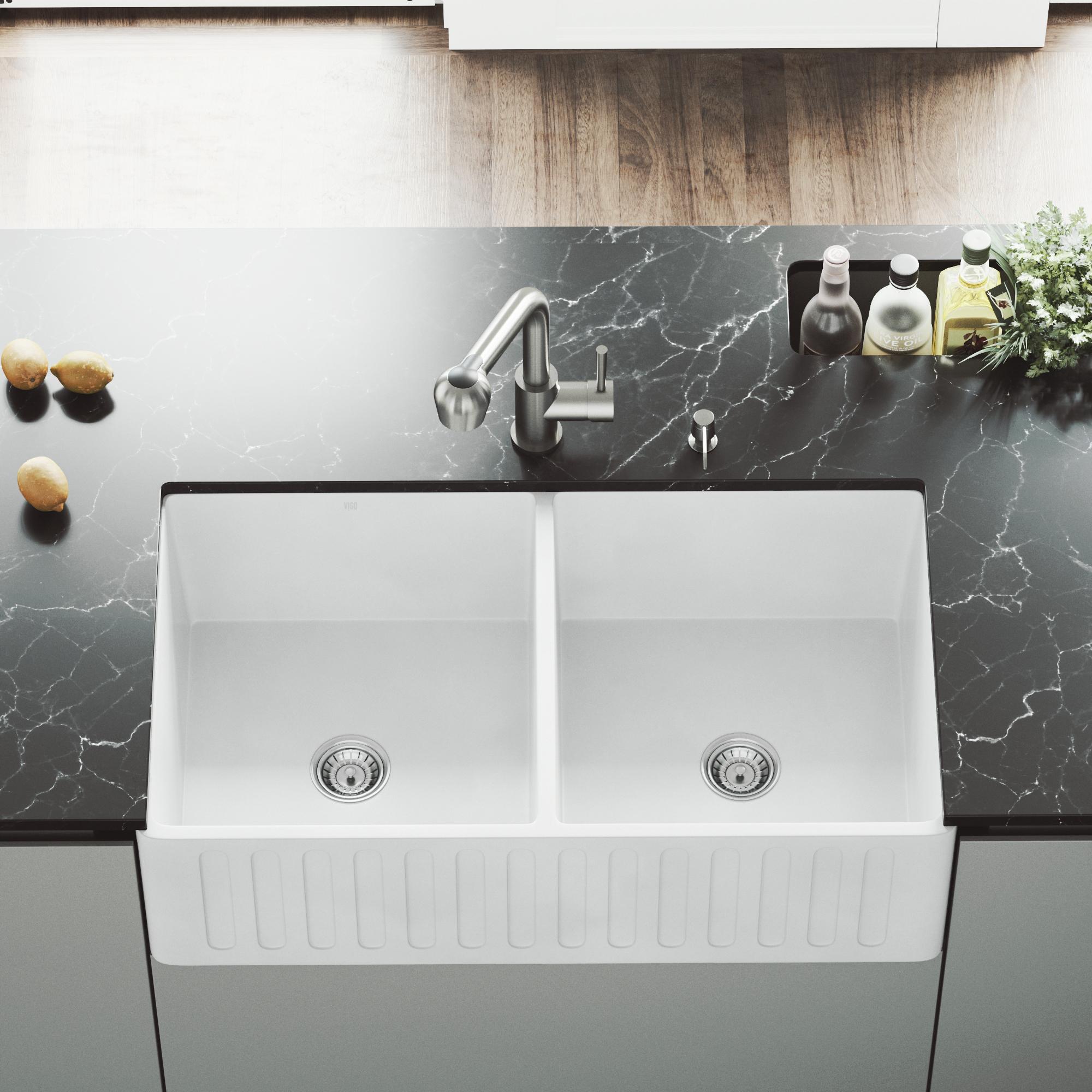 VIGO Matte Stone Double Bowl Farmhouse Kitchen Sink