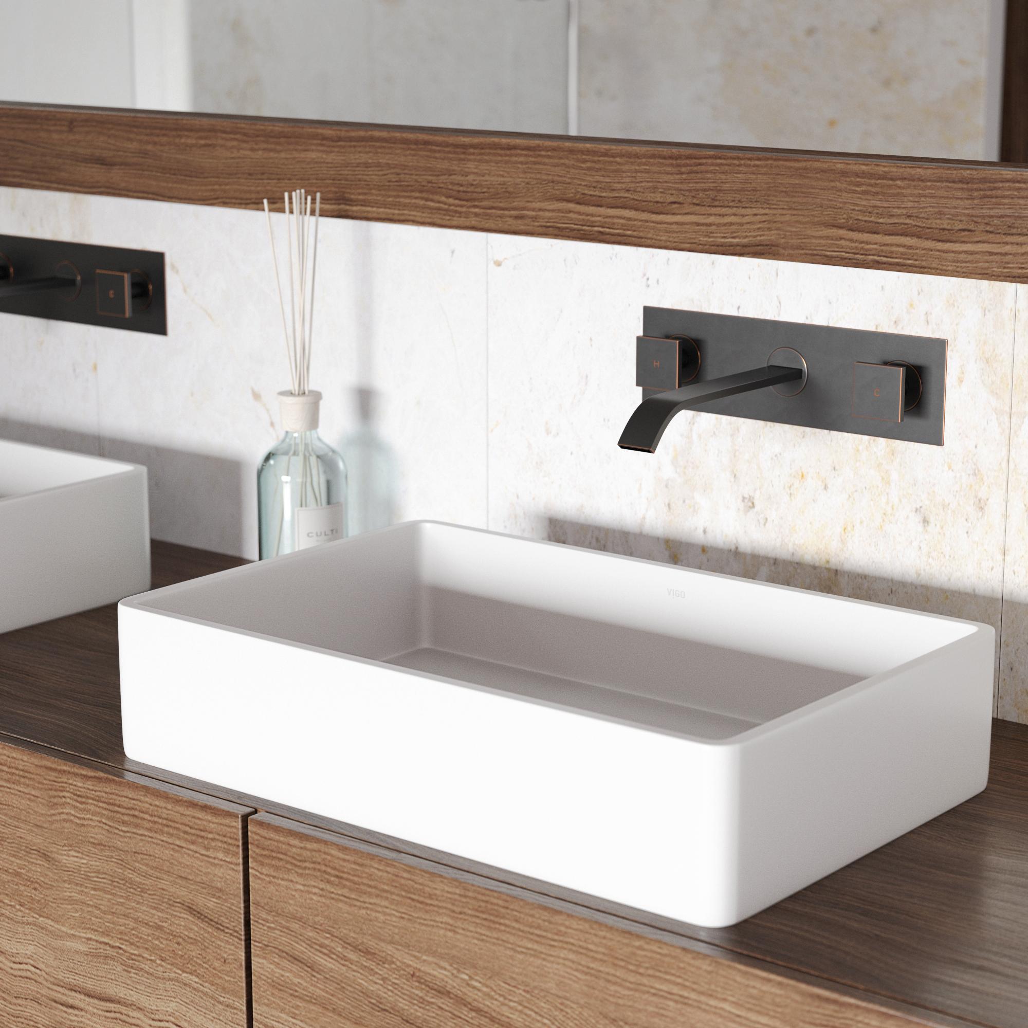 VIGO Magnolia Matte Stone Vessel Sink with Titus Wall Mount Faucet