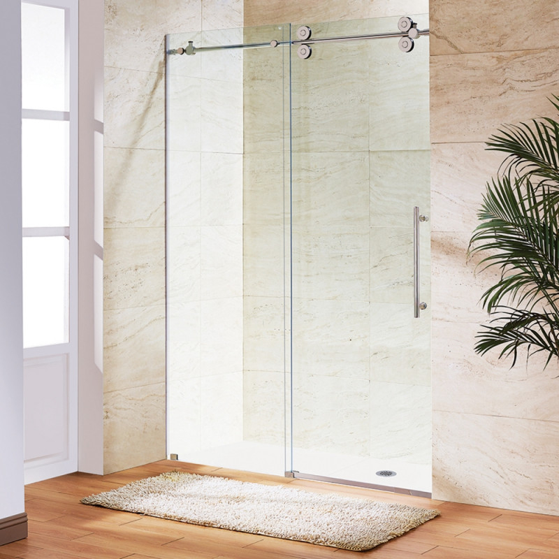 A VIGO Frameless Glass Sliding Shower Door