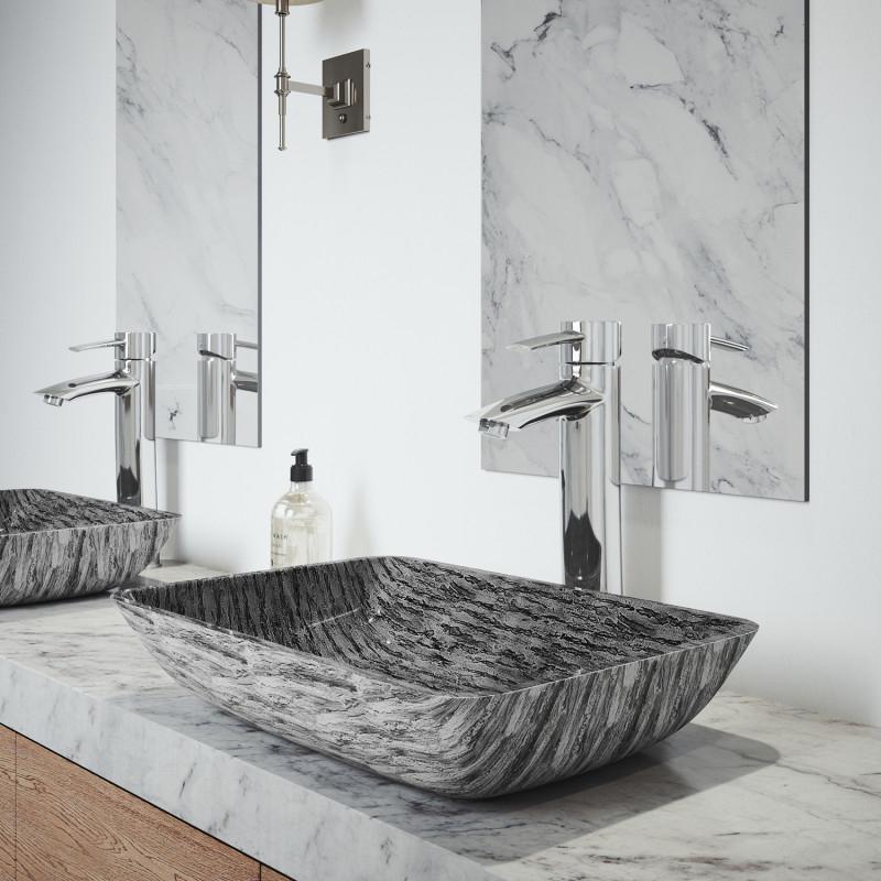 VIGO Rectangular Titanium Glass Vessel Bathroom Sink with Shadow Vessel Faucet in Chrome