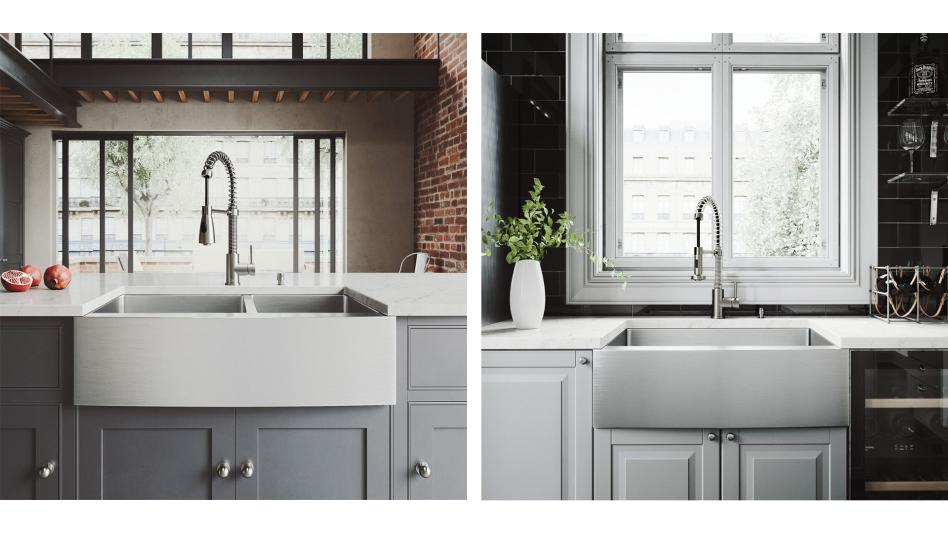 Two VIGO Stainless Steel Farmhouse Kitchen Sinks, one double bowl model and one single bowl model