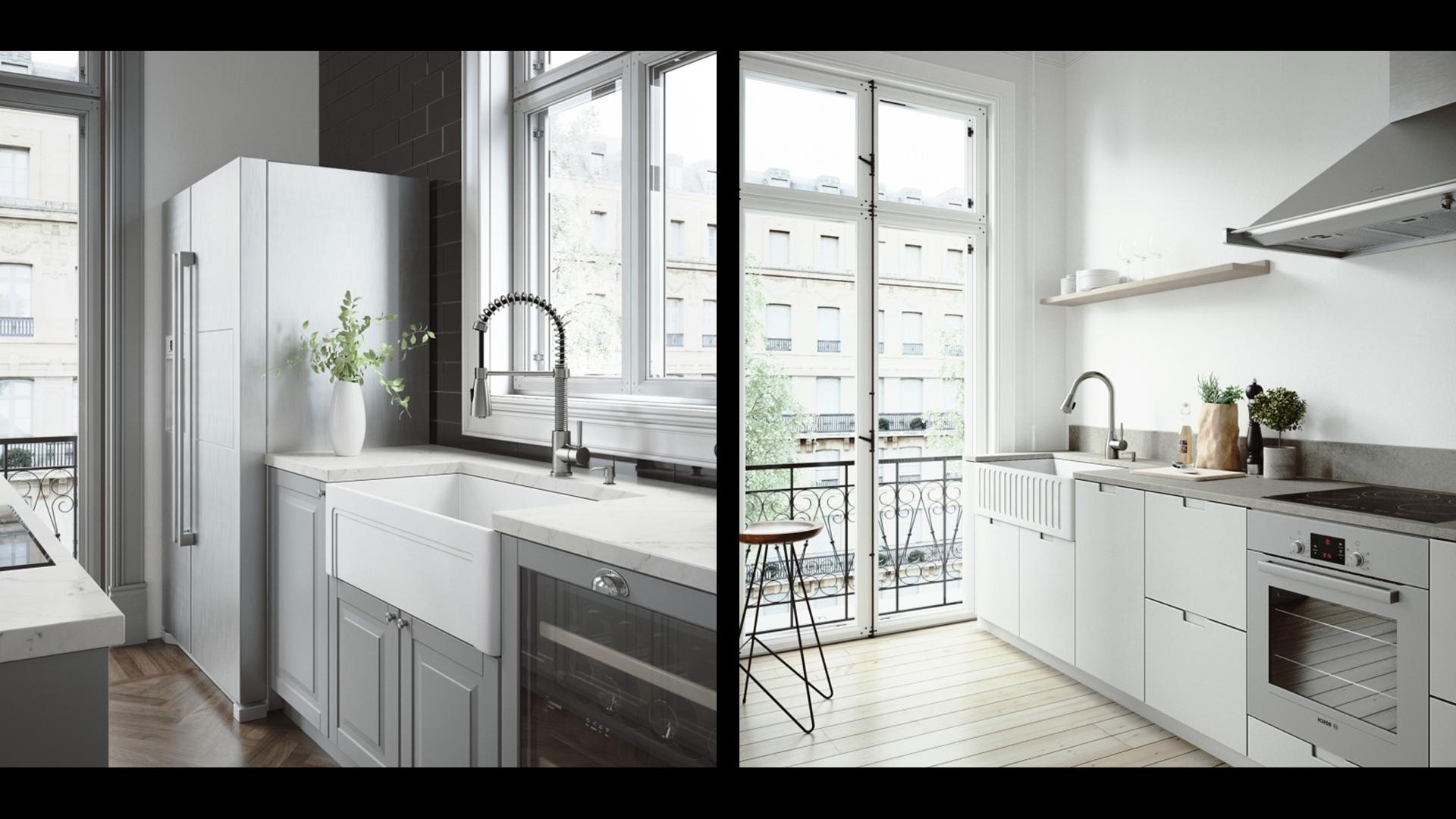 Two VIGO Matte Stone Farmhouse Kitchen Sinks, one double bowl model and one single bowl model