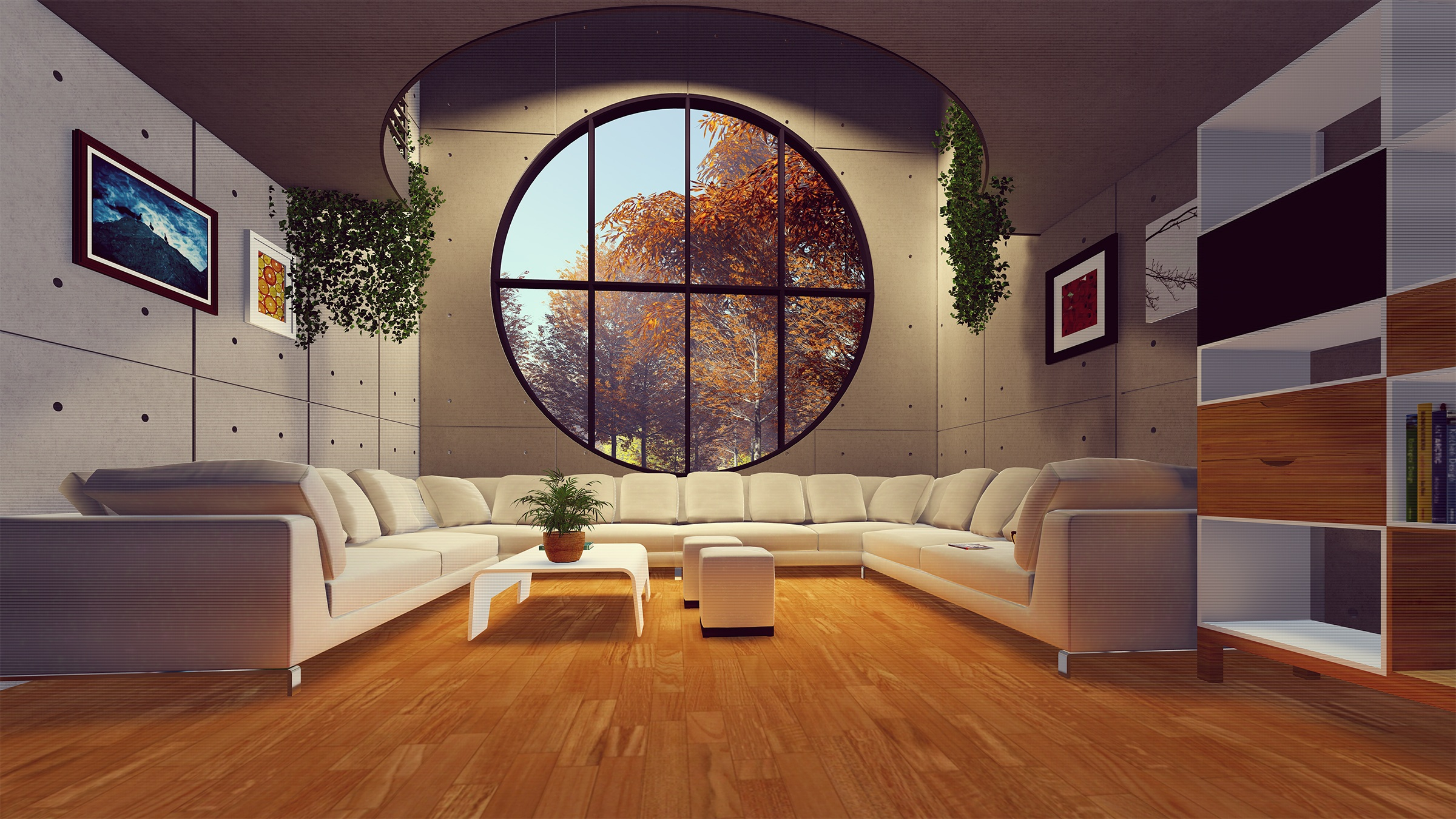 A modern living room with a showcase window