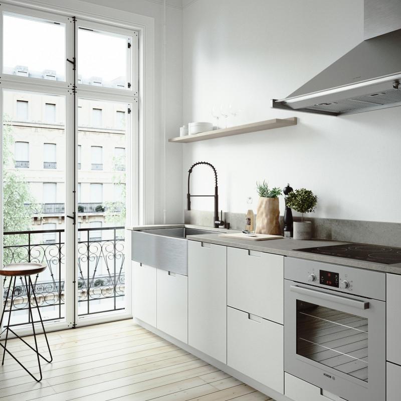 A clean, modern kitchen with plenty of storage space