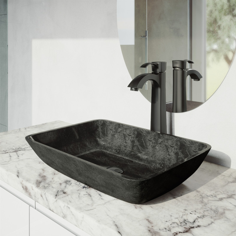 VIGO Rectangular Gray Onyx Glass Vessel Bathroom Sink Set With Otis Vessel  Faucet In Matte Black